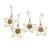 Golden grass ornaments, 'Starry Gleam' (set of 4) - Golden Grass and Gold Plated Brass Star Ornaments (Set of 4) (image 2a) thumbail