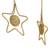 Golden grass ornaments, 'Starry Gleam' (set of 4) - Golden Grass and Gold Plated Brass Star Ornaments (Set of 4) (image 2c) thumbail
