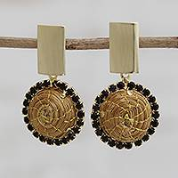 Gold plated golden grass dangle earrings, 'Dark Rings' - Circular Gold Plated Golden Grass Dangle Earrings