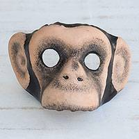 Leather mask, 'Monkey Around' - Handcrafted Realistic Chimpanzee Molded Leather Mask