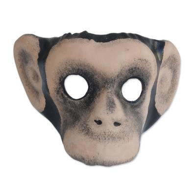 Leather mask, 'Monkey Around' - Handcrafted Realistic Chimpanzee Molded Leather Mask