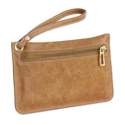 Handcrafted Ginger Leather Wristlet from Brazil