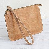 Leather wristlet, 'Well Spent in Ginger' - Handmade Leather Wristlet in Ginger from Brazil