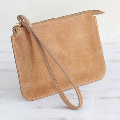 Leather wristlet, Well Spent in Ginger