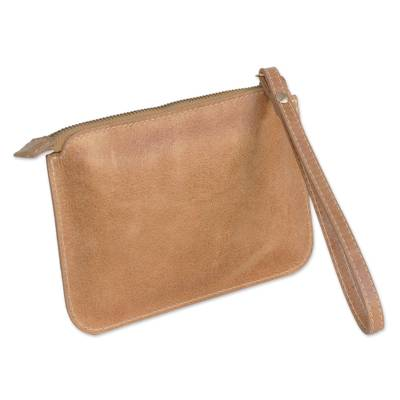 Handmade Leather Wristlet in Ginger from Brazil