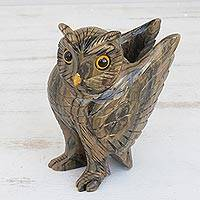 Dolomite sculpture, 'Earthen Owl' - Hand-Carved Earth-Tone Dolomite Owl Sculpture from Brazil