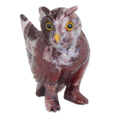 Magnesite sculpture, 'Hooting Owl' - Hand-Carved Magnestie Owl Sculpture from Brazil