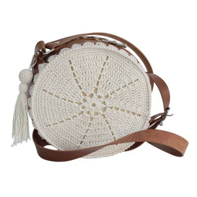 Crocheted Cotton and Faux Leather Sling from Brazil