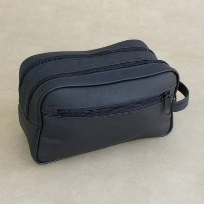 Leather travel bag, 'Black Sophisticated Style' - Handmade Leather Travel Bag in Black from Brazil