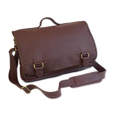 Handmade Leather Laptop Bag in Maroon from Brazil