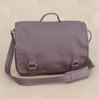 Leather laptop bag, 'Universal in Maroon' (double) - Handmade Leather Laptop Bag in Maroon from Brazil (Double)