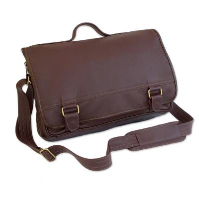 Handmade Leather Laptop Bag in Maroon from Brazil (Double)