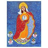 'Our Lady of Conception' - Signed Folk Art Painting of Mother Mary from Brazil