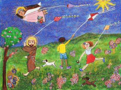 'Innocence' - Signed Religious Folk Art Painting from Brazil