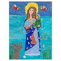 'Our Lady of Navigators' - Signed Naif Painting of Our Lady of Navigators from Brazil