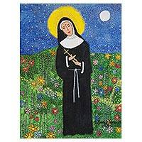'Saint Rita of Cascia' - Signed Naif Painting of Saint Rita of Cascia from Brazil