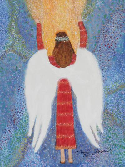 'Connection' - Signed Folk Art Painting of an Angel from Brazil