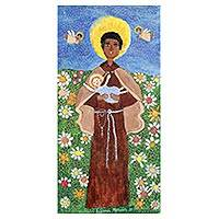 'Saint Benedict' - Signed Folk Art Painting of Saint Benedict from Brazil