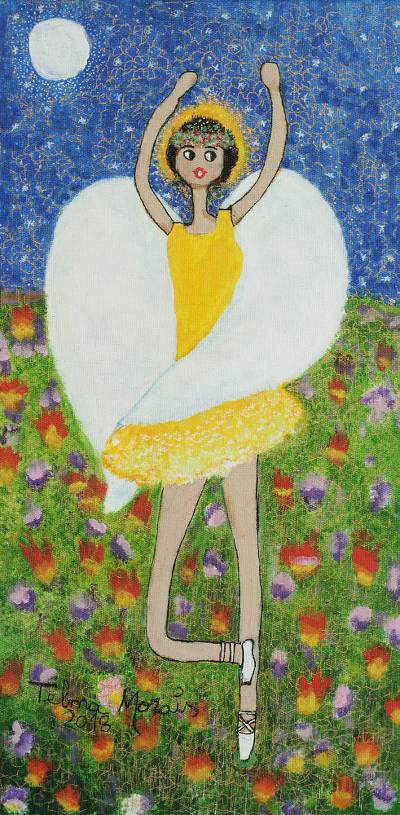'The Angel Dances in the Cerrado' - Signed Naif Painting of an Angel in a Yellow Dress