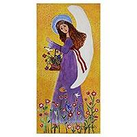 'Angel, Birds, and Flowers' - Signed Naif Painting of an Angel in a Purple Dress