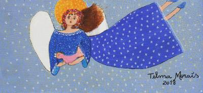 'The World in Blue' - Signed Naif Painting of an Angel in a Blue Dress from Brazil