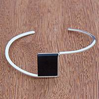 Quartz cuff bracelet, 'Modern Night' - Dark Quartz Cuff Bracelet from Brazil