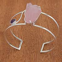 Rose quartz and amethyst cuff bracelet, 'Pink Mountains' - Rose Quartz and Amethyst Cuff Bracelet from Brazil