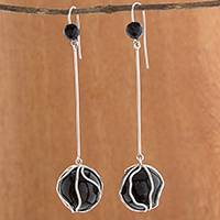 Agate and onyx dangle earrings, 'Black Pendulum' - Modern Agate and Onyx Dangle Earrings from Brazil