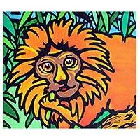 'Golden Lion Tamarin' - Signed Painting of a Golden Lion Tamarin from Brazil