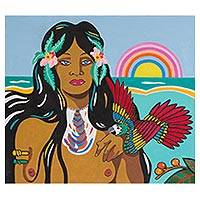'Iracema' - Signed Painting of an Indigenous Woman from Brazil