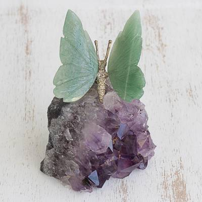 Quartz and amethyst gemstone sculpture, 'Verdant Wings' - Quartz and Amethyst Butterfly Gemstone Sculpture from Brazil