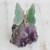 Quartz and amethyst gemstone sculpture, 'Verdant Wings' - Quartz and Amethyst Butterfly Gemstone Sculpture from Brazil thumbail