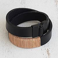Leather wristband bracelet, 'Black Modernity' - Modern Leather Wristband Bracelet in Black from Brazil
