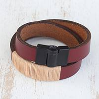 Leather wristband bracelet, 'Hot Modernity' - Modern Leather Wristband Bracelet in Burgundy from Brazil
