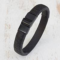Men's leather wristband bracelet, 'Masculinity' - Men's Modern Leather Wristband Bracelet in Black from Brazil