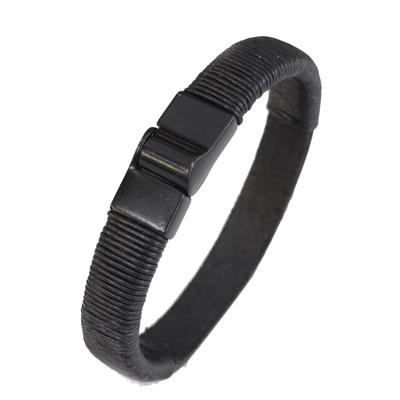 Men's leather wristband bracelet, 'Masculinity' - Men's Modern Leather Wristband Bracelet in Black from Brazil