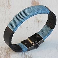 Leather and cotton wristband bracelet, 'Present Time' - Leather and Turquoise Blue Cotton Wristband Bracelet