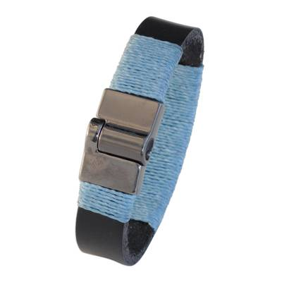 Leather and Turquoise Blue Cotton Wristband Bracelet