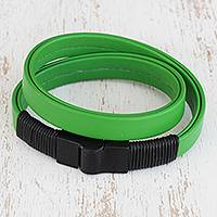 Leather-accent wristband bracelet, 'Feminine Tropics' - Leather-Accent Wristband Bracelet in Green from Brazil