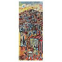 'Samba in the Favela' - Signed Original Painting of a Favela from Brazil