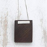 Wood pendant necklace, 'Dark Modernity' - Modern Natural Ipe Wood Pendant Necklace from Brazil