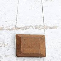 Wood pendant necklace, 'Faceted Rectangle' - Modern Red Peroba Wood Pendant Necklace from Brazil