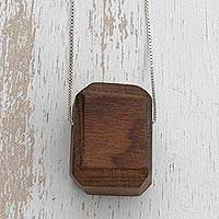 Wood pendant necklace, 'Nature's Jewel' - Modern Natural Canela Wood Pendant Necklace from Brazil
