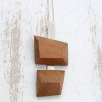 Wood pendant necklace, 'Modern Nature' - Modern Red Peroba Wood Pendant Necklace from Brazil