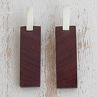 Sterling silver and wood drop earrings, 'Modern Pau Marfim' - Rectangular Sterling Silver and Wood Drop Earrings