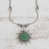 Quartz pendant necklace, 'Sun Rays' - Sun-Themed Green Quartz Pendant Necklace from Brazil