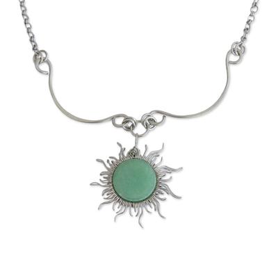 Quartz pendant necklace, 'Sun Rays' - Sun-Themed Green Quartz Pendant Necklace from Brazil