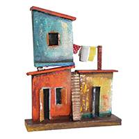 Recycled wood wall sculpture, 'Townhouse with Staircase' - Favela-Themed Recycled Wood Wall Sculpture from Brazil