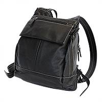 Leather backpack, 'Feminine Black' - Leather Backpack in Black from Brazil