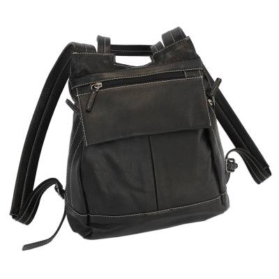 Leather Backpack in Black from Brazil